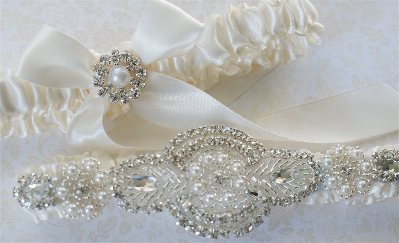 Wedding Garter Garter Set Pearl And Rhinestones Applique On Ivory Satin Bride Garter With