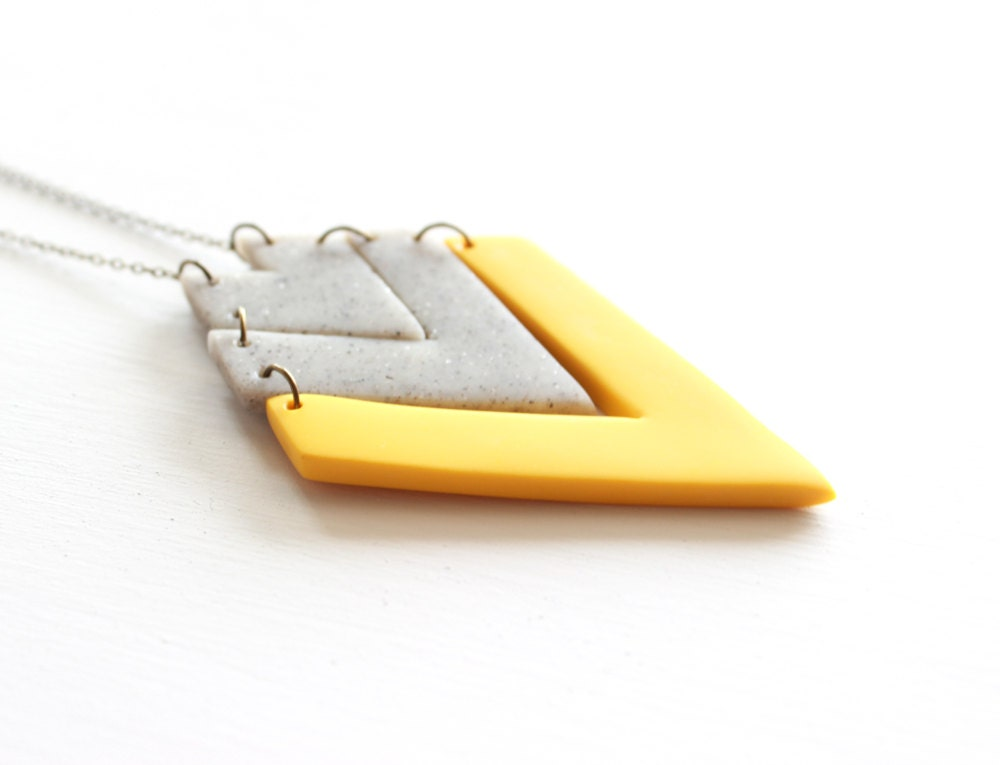 Mustard Yellow and Gray Tribal Arrow Necklace, Polymer Clay Pendant Necklace - AQuietCuriosity