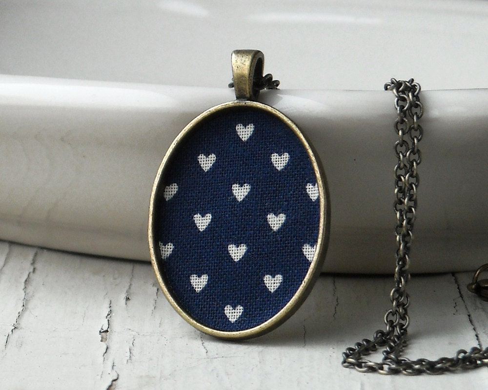 Navy Blue Heart Necklace