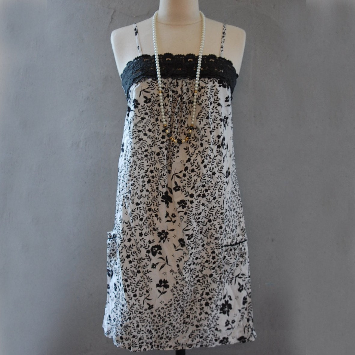 French romantic LACE MILLE fleur Black White Tunic Dress Size S/M