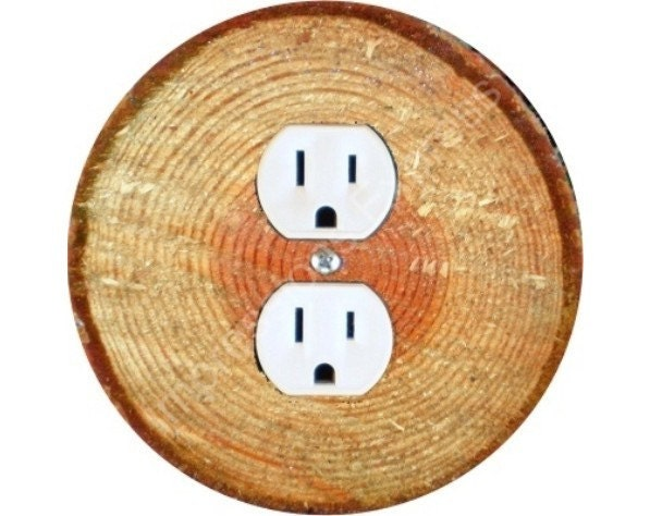 Tree Log  Round Duplex Outlet Plate Cover by ImpressionsExpress from etsy.com