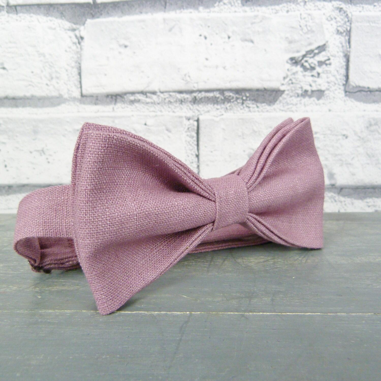 Linen Bow Tie  Dusky Pink Wedding Bow Tie Groomsman Bow Tie