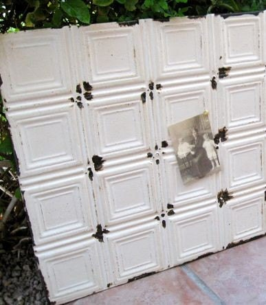 HUGE Architectural Salvage Magnetic Memo Board from Antique Ceiling Tin  in Cream 2ftx2ft