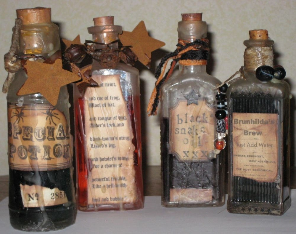 Halloween Witch S Potion Bottles Set Of 4 By Paintedpony99