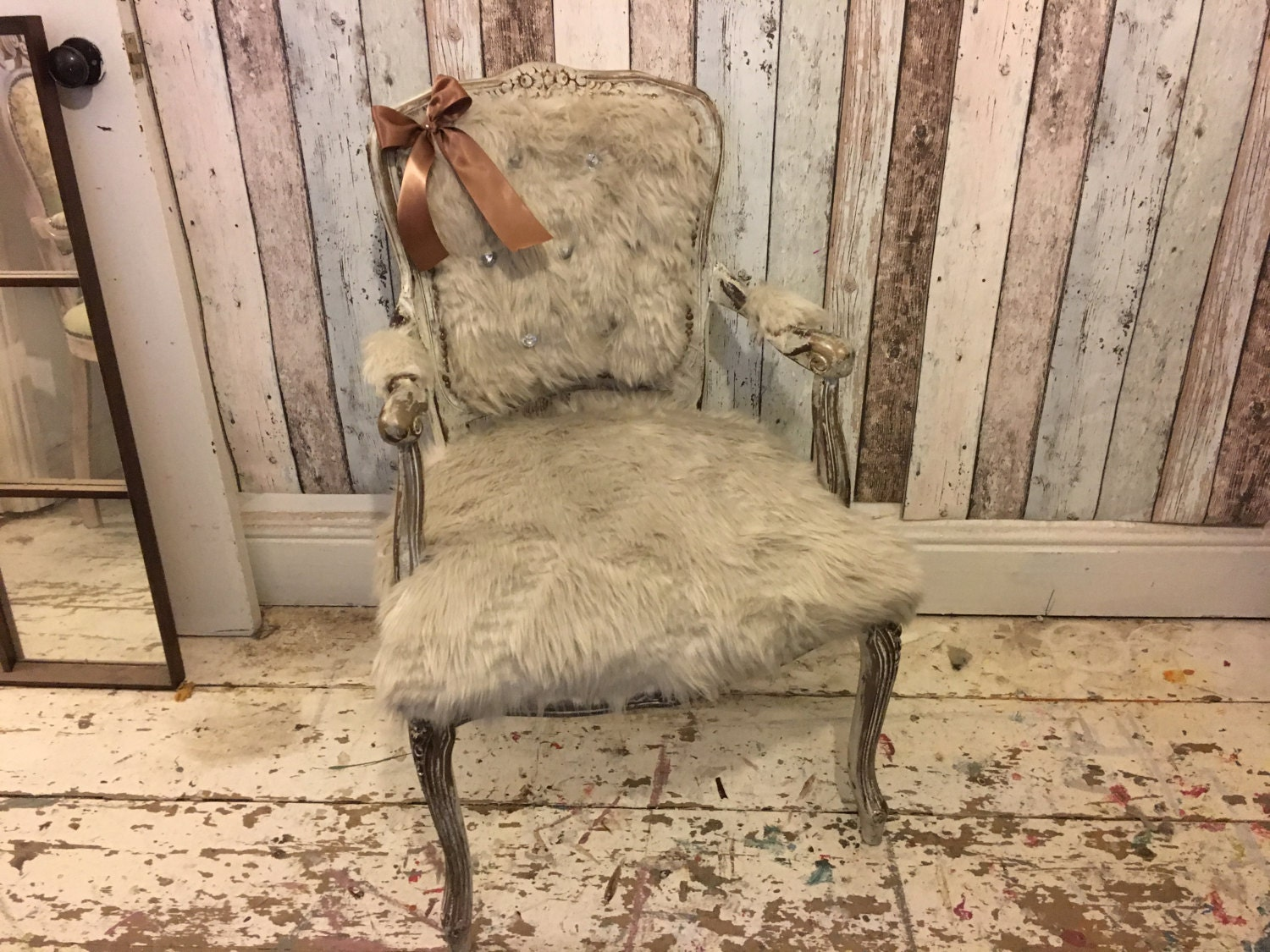 Yeti Fur Rococo Chair French Italian Louis Chair Bedroom Shabby Chic