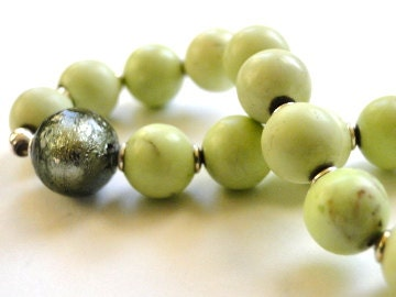 NEW - Fall collection - Lime Jasper Stretch Bracelet, Blown Glass, Accessories, Gift for Her, Fall - wulfgirl