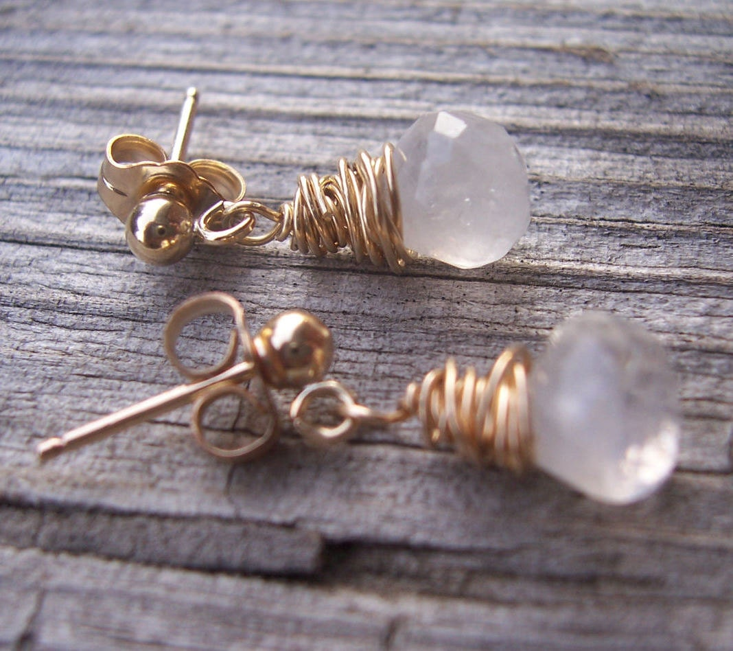 Moonstone earrings moonstone jewelry moonstone gold wire wrapped dangle post earrings