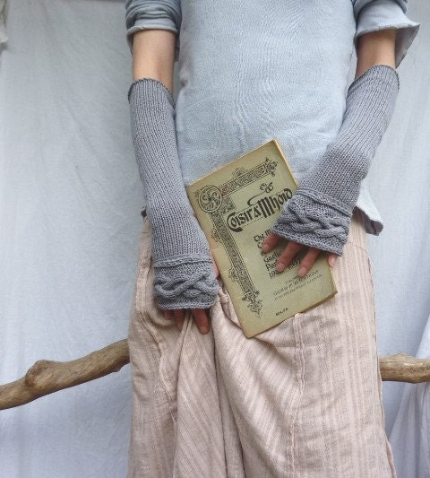 Knitting Pattern Gauntlet Gloves : Celtic Princess Gauntlets hand knitted in eco organic by ...