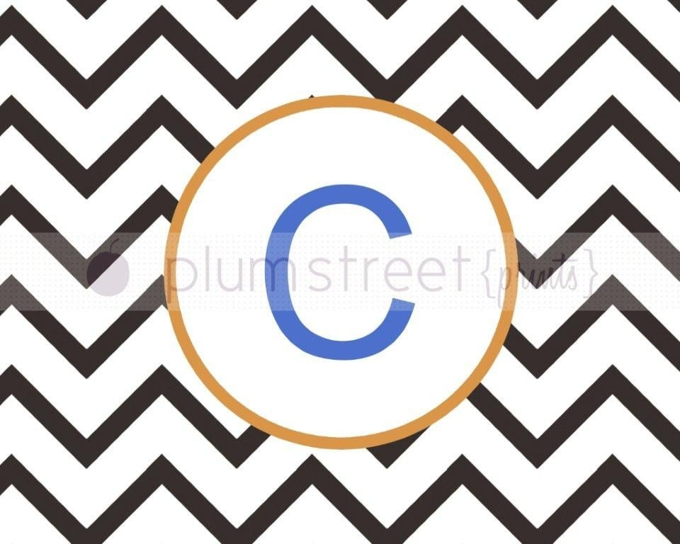 Monogram Wall Print (Chevron) - 8x10 Printable Art