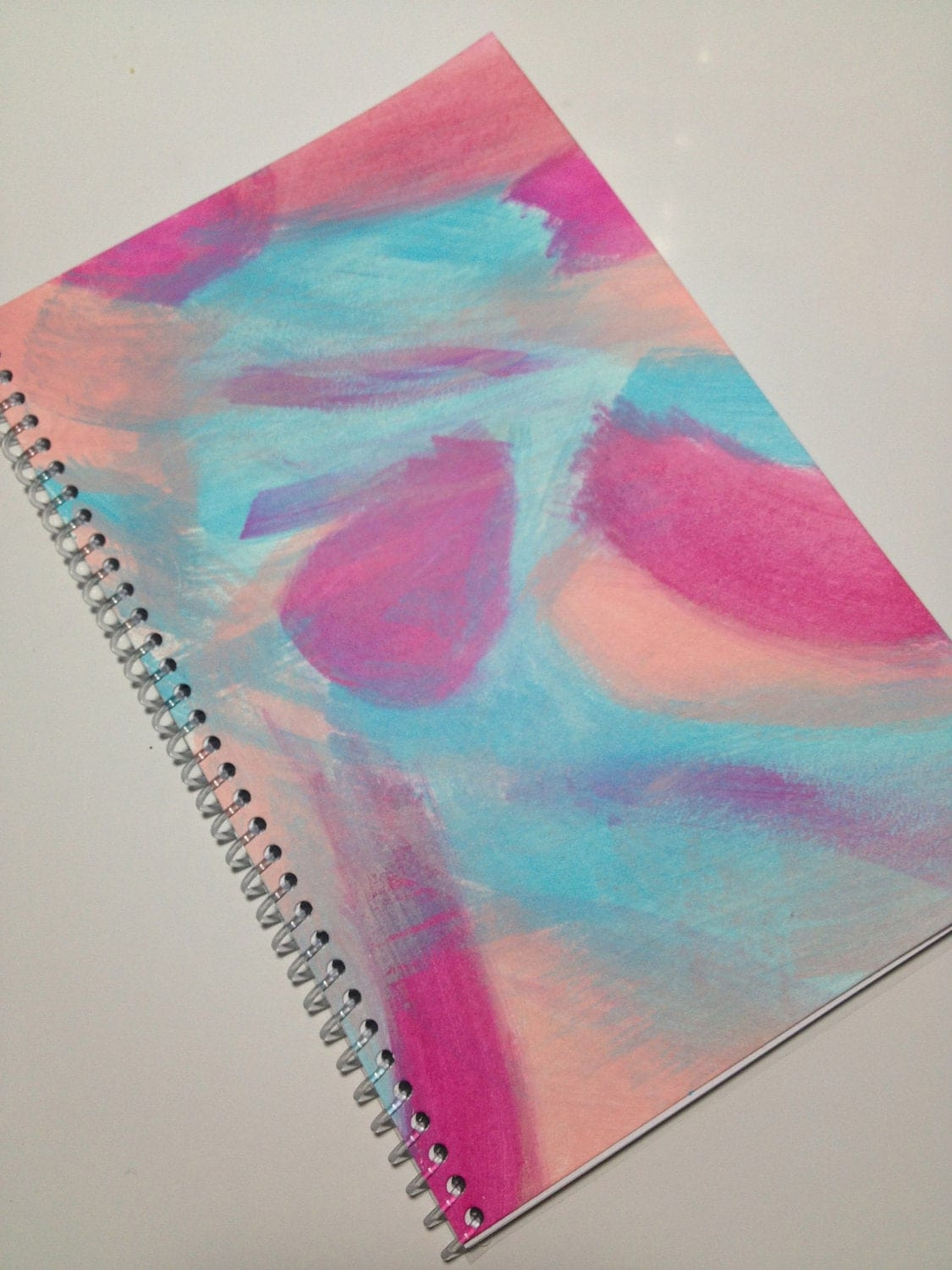Original Abstract Painting on Notebook - Light Pink, Magenta and Light Blue - ShadesOfColorArt