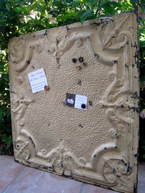 HUGE Architectural Salvage Magnetic Memo Board from Antique Ceiling Tin  2ftx2ft / Only 1 Available /