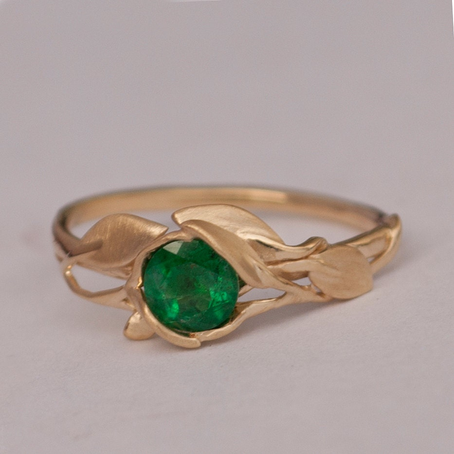 leaves engagement ring 14k gold and emerald by doronmerav