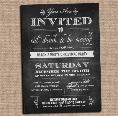Chalkboard Invitation - Holiday Party - Any Occasion