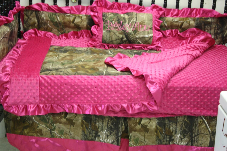 5 Pc Hot Pink Minky Silk Real Tree Camo By Bedbugscreations