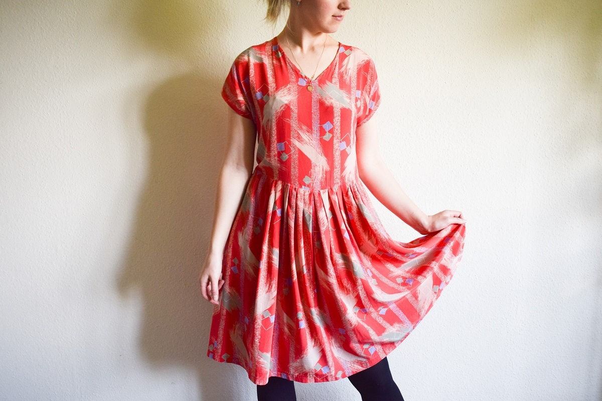 Vintage Silk Dress 80s Coral Dress With Pleats Loose Boho Summer Dress Large