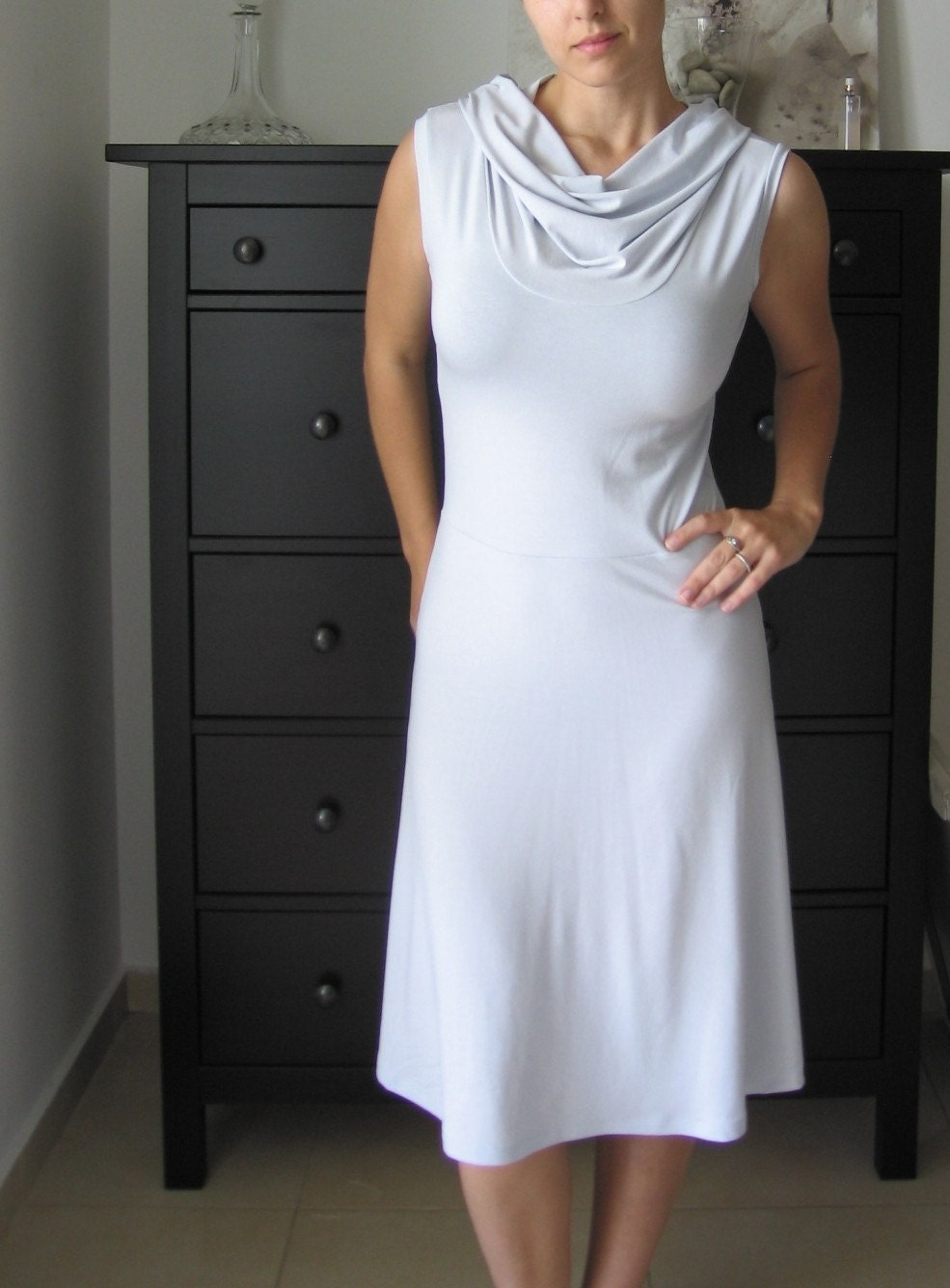 Cowl Neckline Dress  -Sleevless In Stone Grey