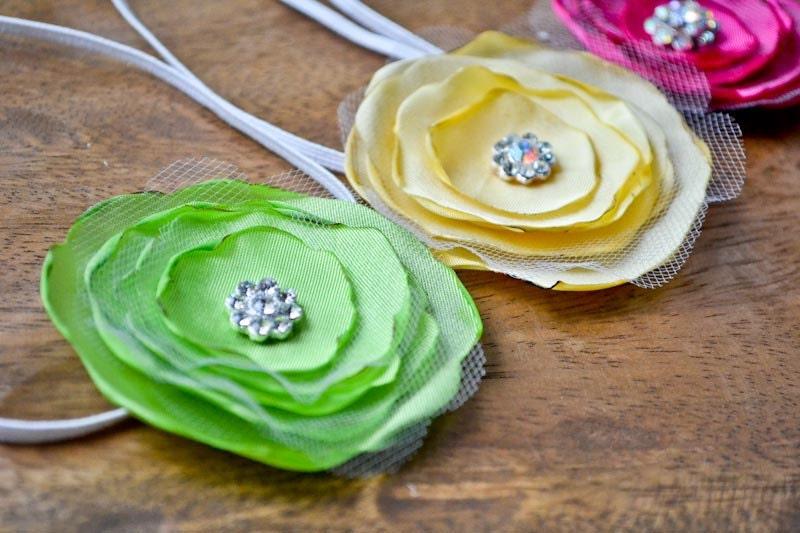 Flower Girl Sunshine Yellow Fabric Flower Headband. Rhinestone Center. Wedding Dress Up Party Photo Prop. Child/Teen size