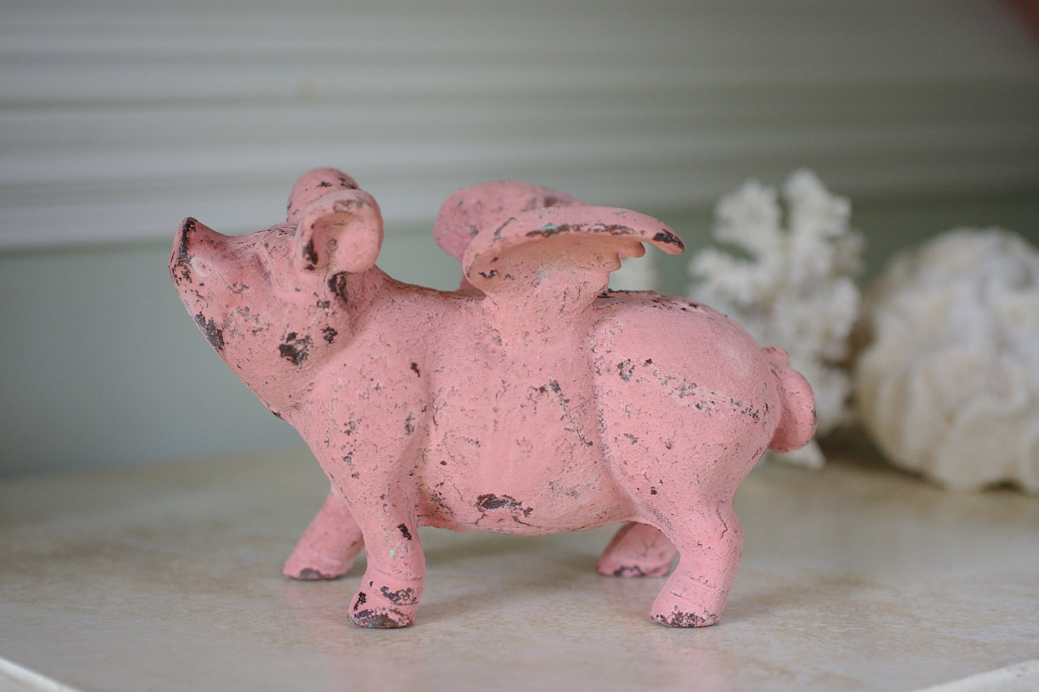 home decor cast iron flying pig pink pig by bytheseashoredecor