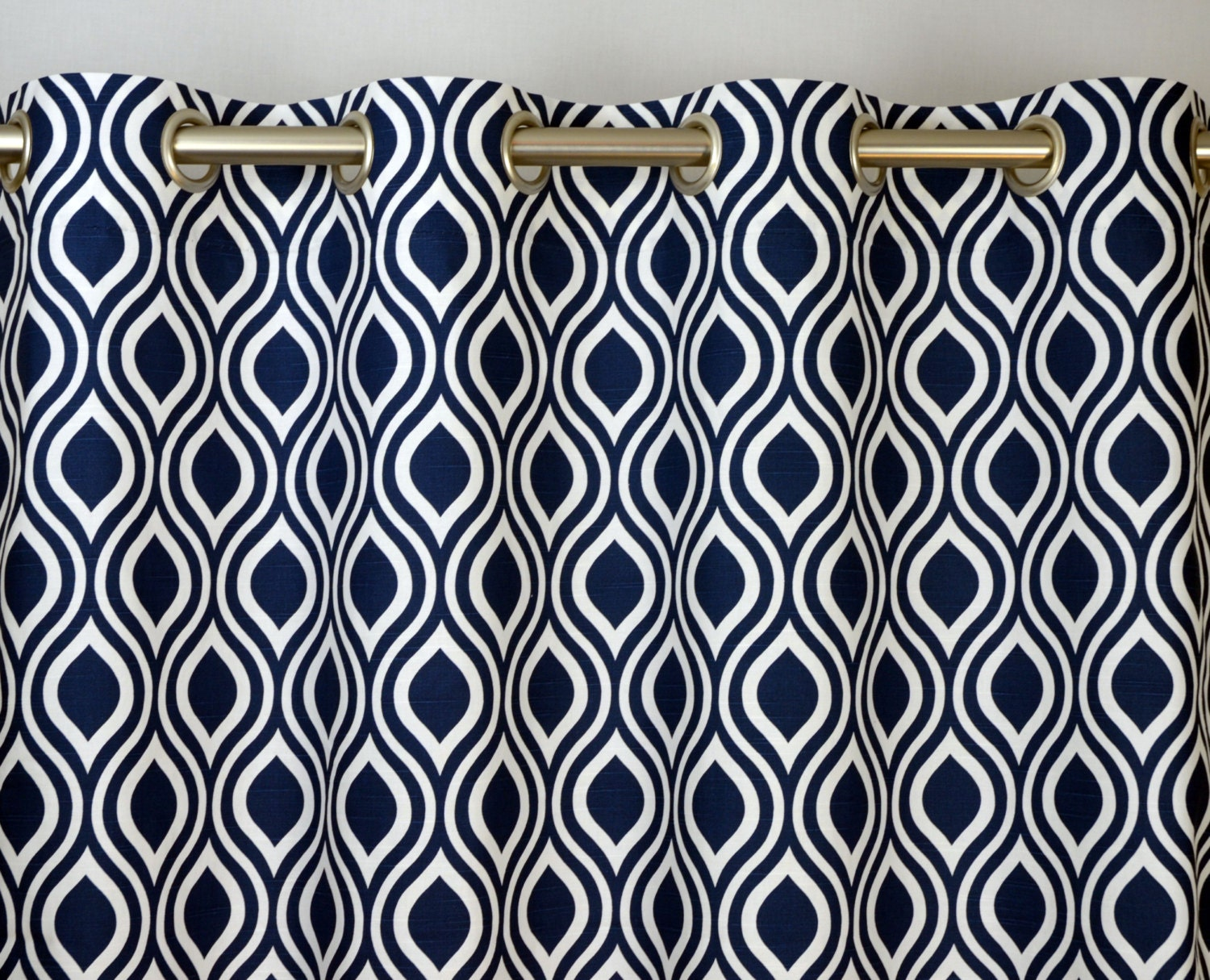 Pair Of Grommet Top Curtains In Navy Blue And White By
