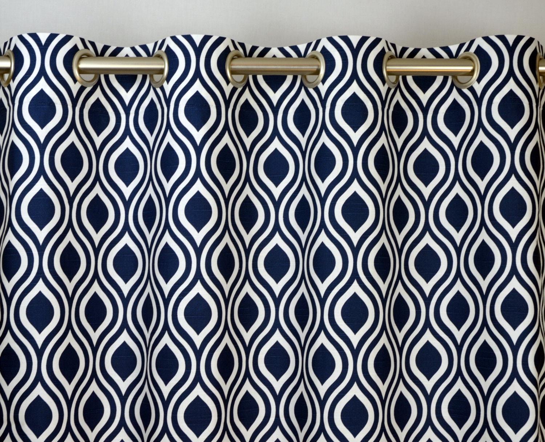 ... Top Curtains in Navy Blue and White Slub Geometric Nicole Print