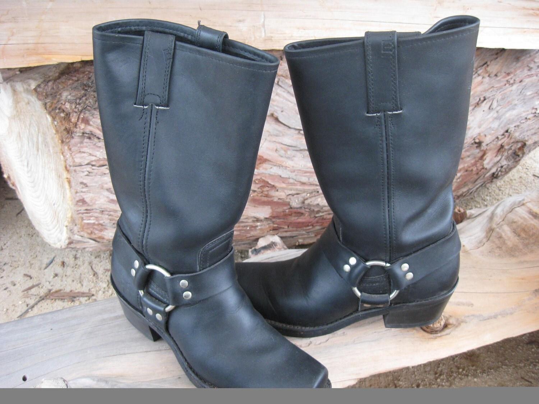 womens boots 7 5 80 s black harness frye by shadowsofnature