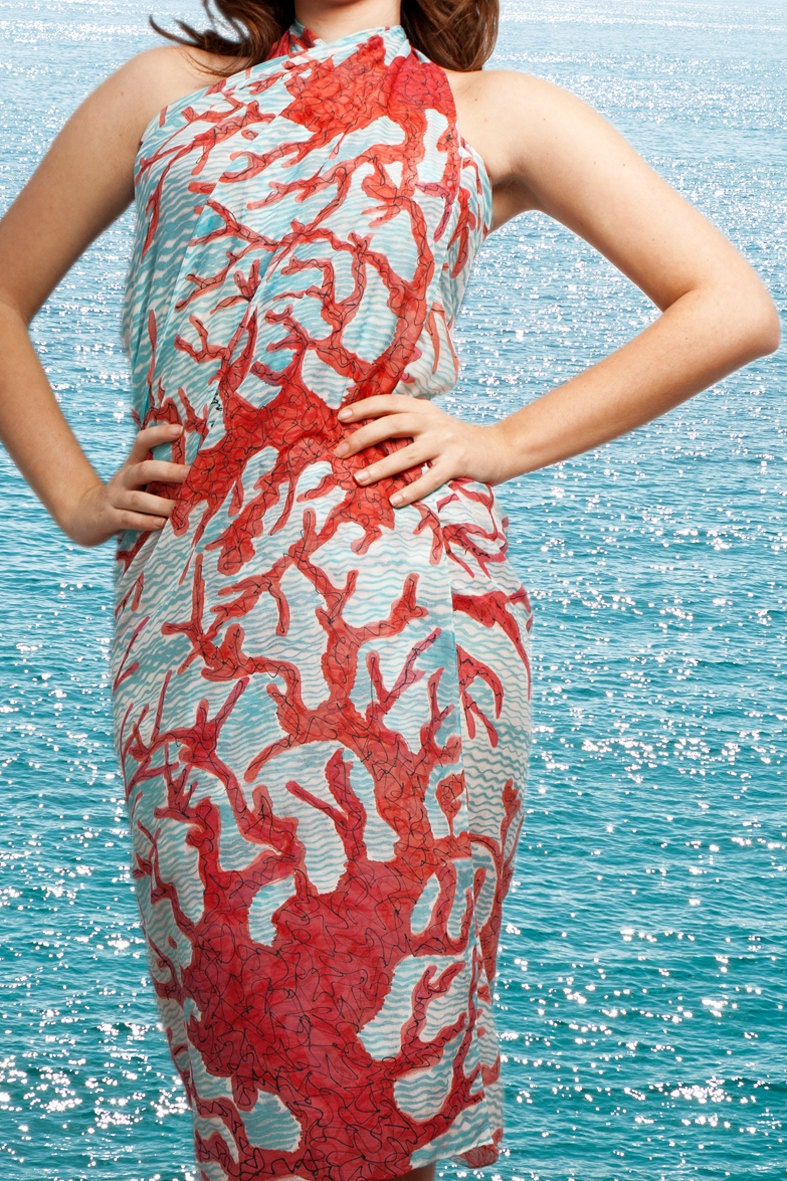 Elegant  Hand Painted Silk  Cotton Beach Pareo Sarong  with Coral Reef Red Blue White  45 X 54 Beach Fashion Summer Vacations - LigaKandele