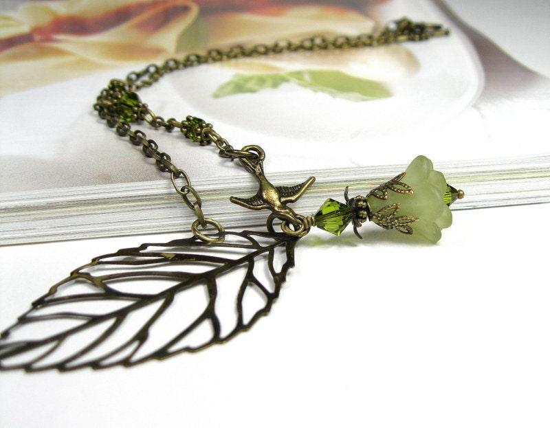 Boho, Bird, Leaf, Floral Vintage Style Necklace