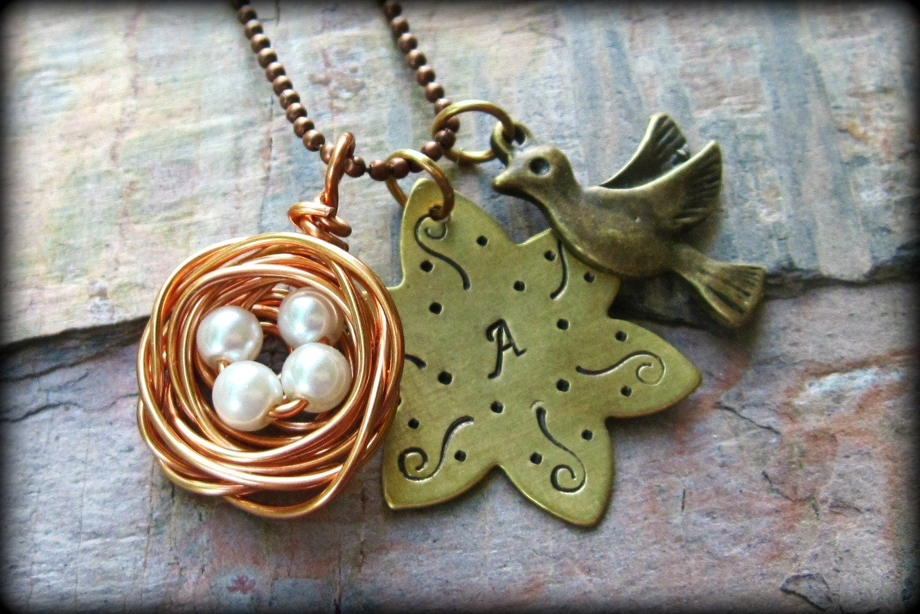 The Arien - Hand-Stamped Brass Flower with Wire-Wrapped Nest Pendant