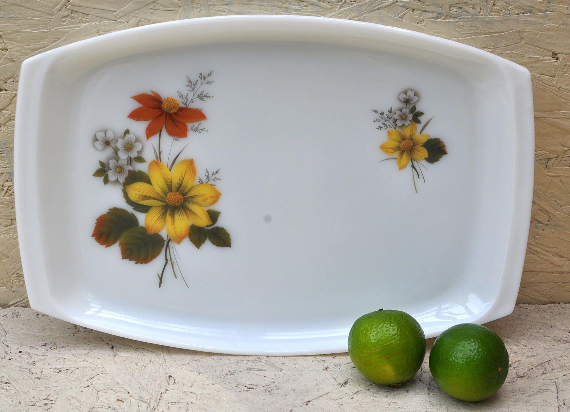 Original 1960s Vintage Pyrex Serving Platter Tray with Retro Floral Pattern