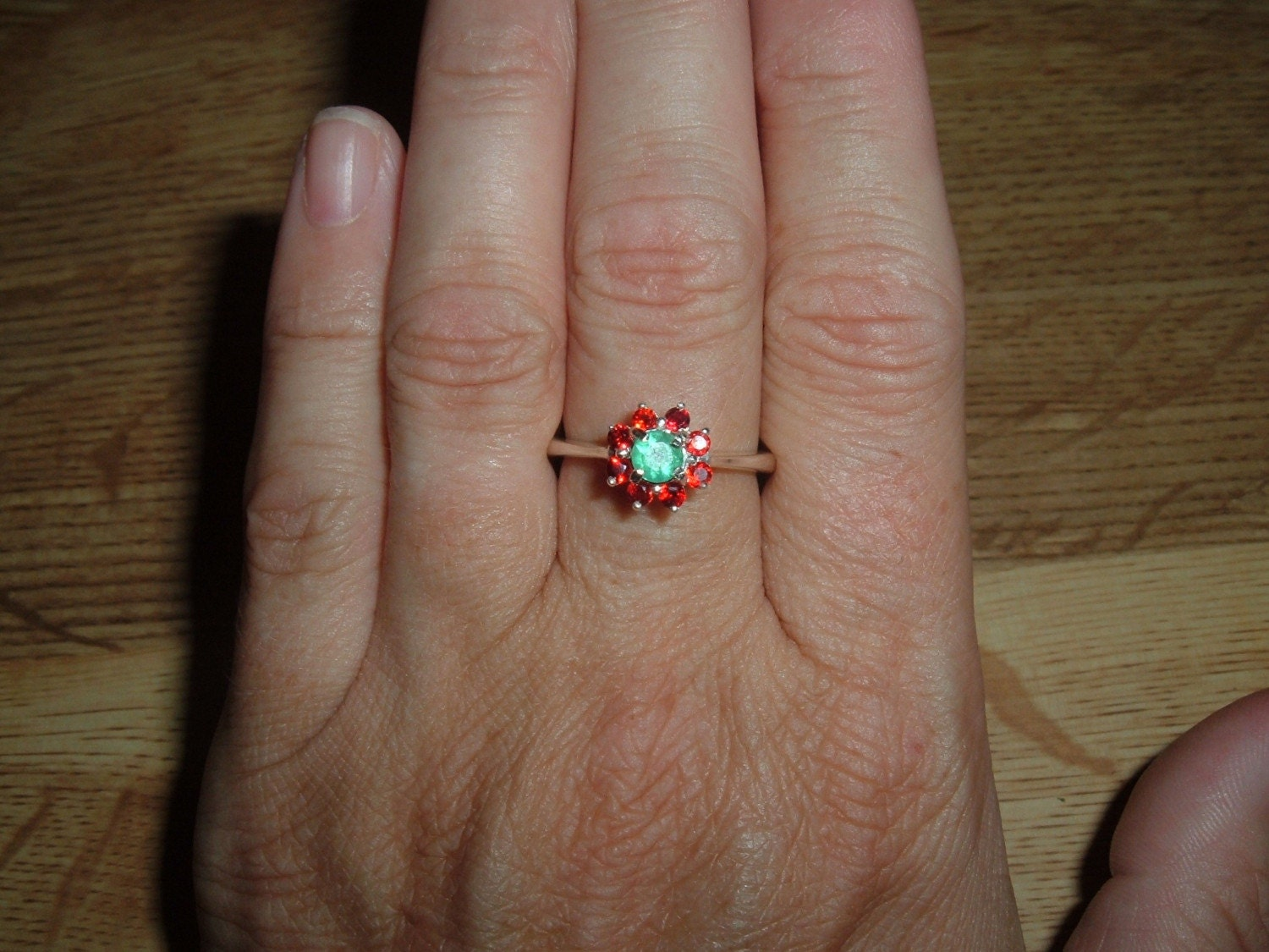 SS Emerald and Red Sapphire Ring Stunning