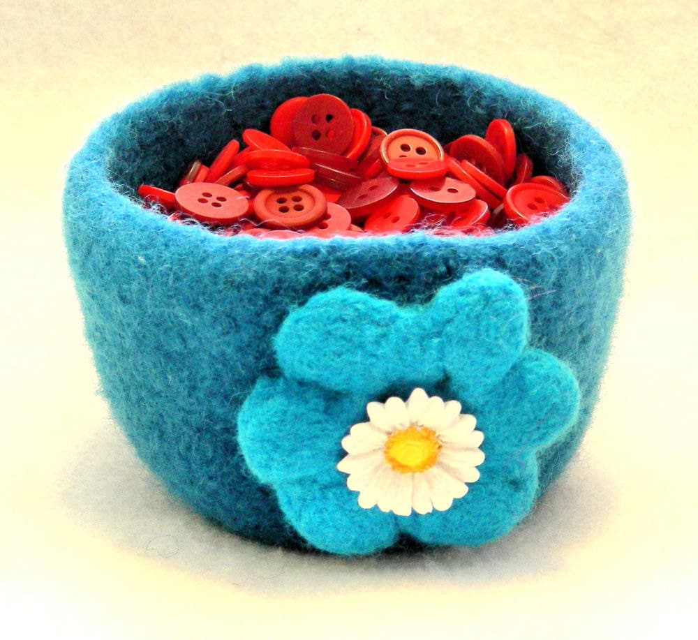Felted bowl, wool, aqua, with felted flower - JNOriginals