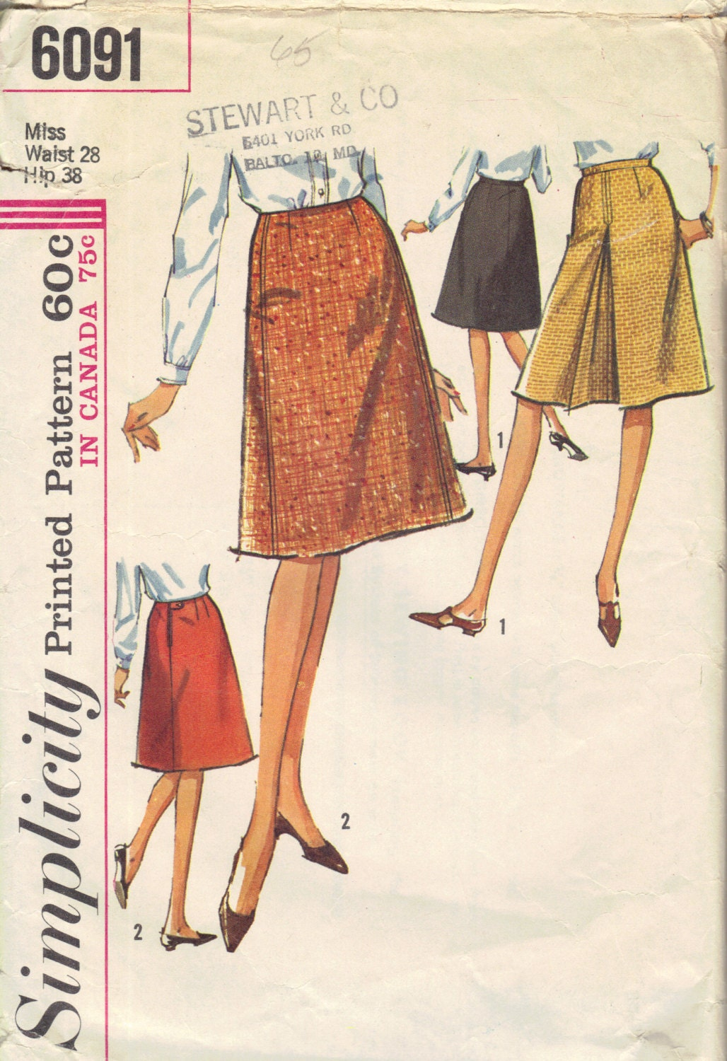 simplicity 1960s sewing pattern mini midi by