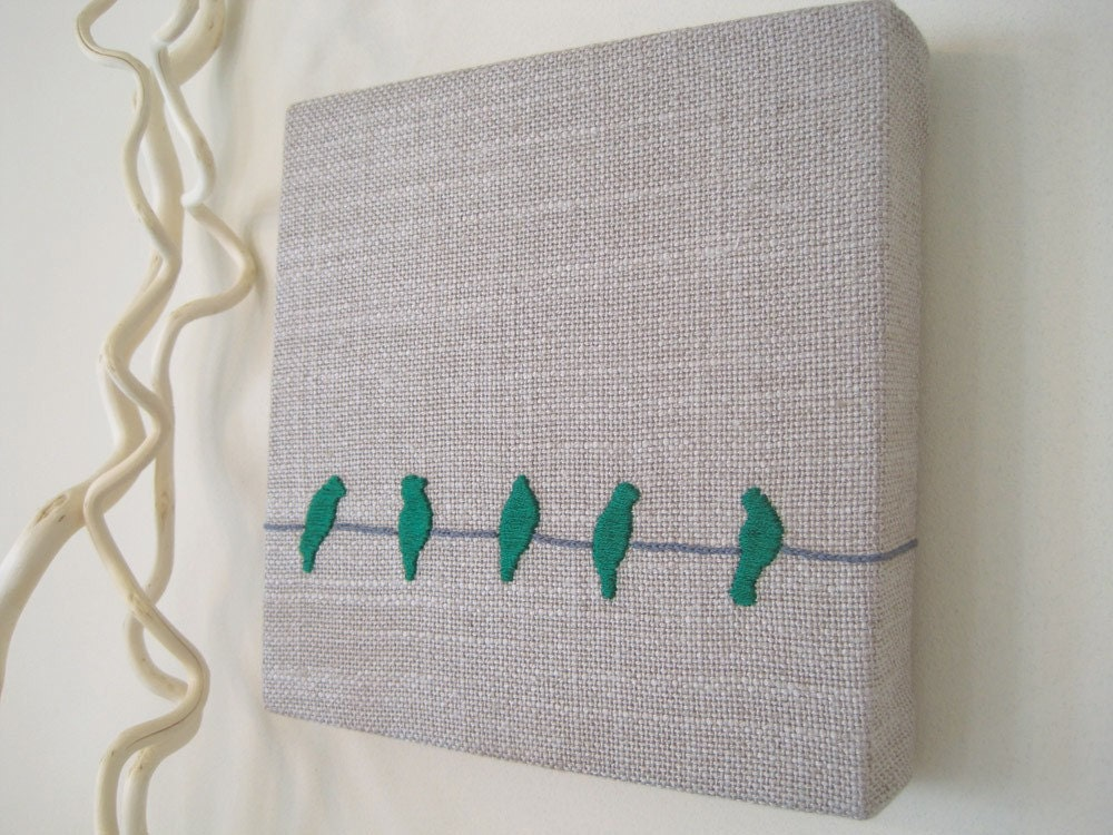 Birds on a Wire Wrapped Fabric Wall Art