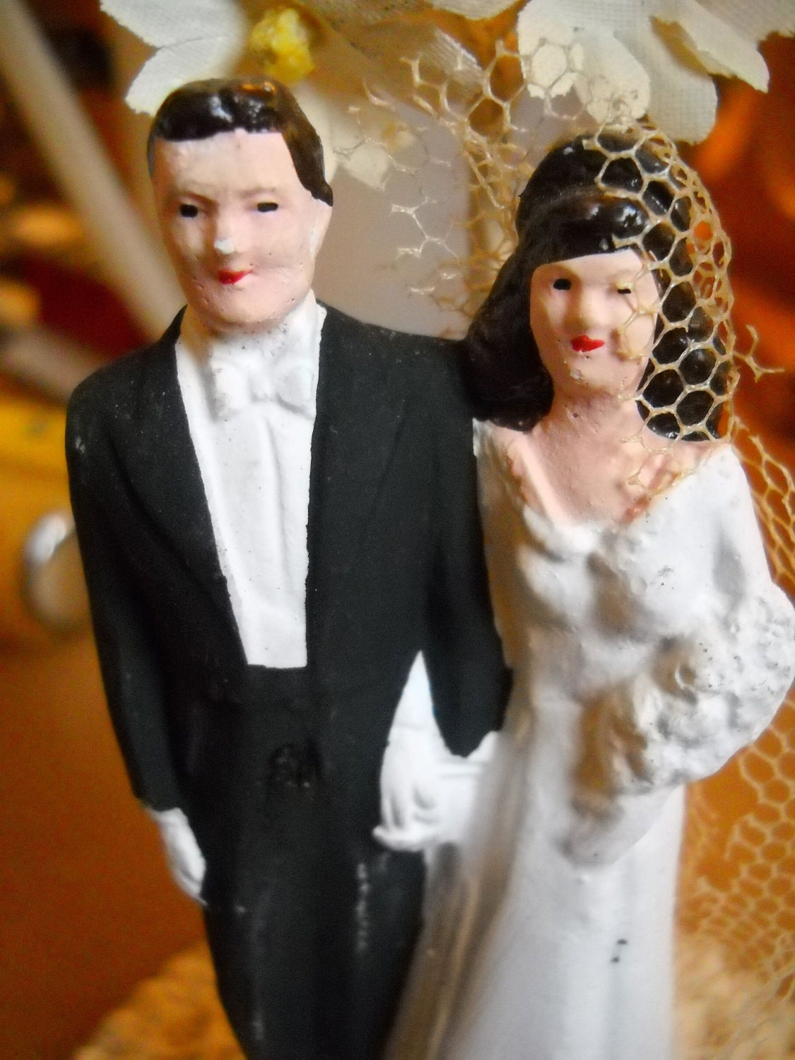 Vintage Brunette Bride and Groom Wedding Cake Topper From dragonflyonbrady