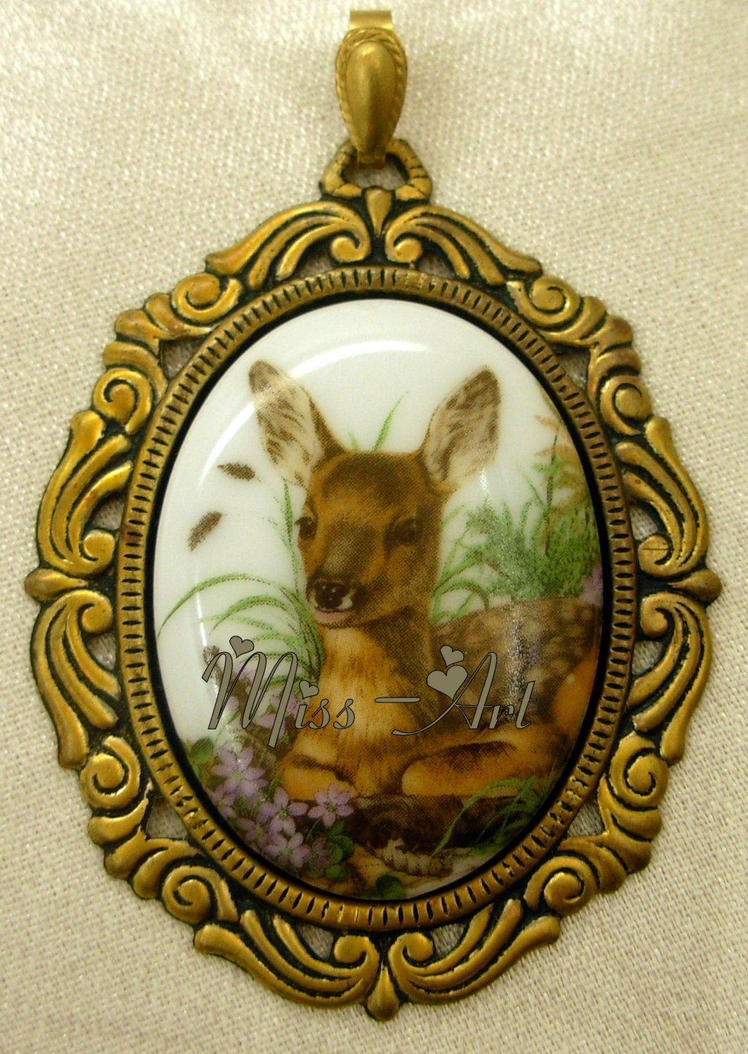 BAMBI Fawn Deer In Flowers Porcelain Cameo Solid Bronze Pendant Necklace OR Brooch OOAK Miss-art - SparklingTreasures2U
