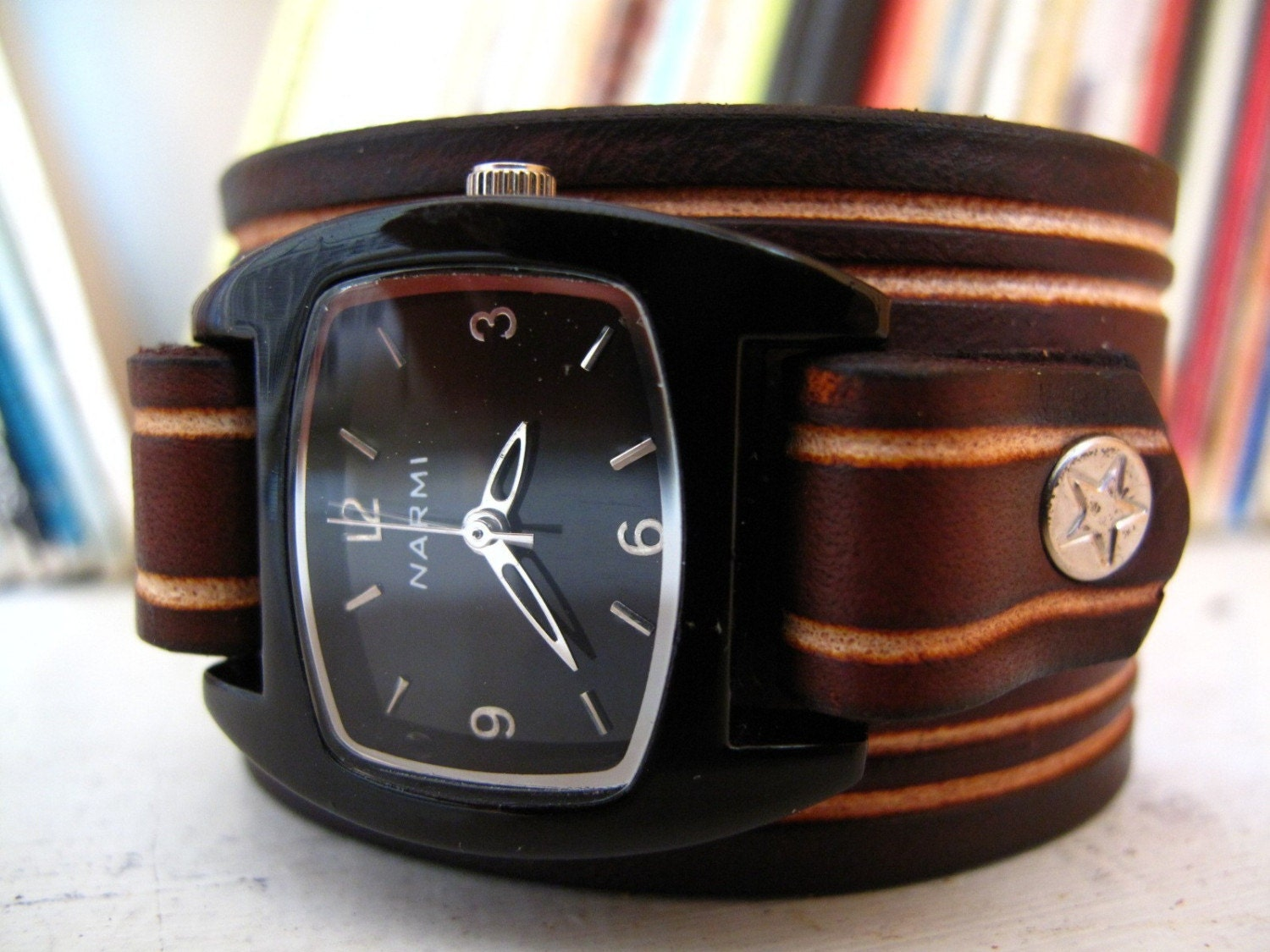 Brown Lines Leather Cuff Watch
