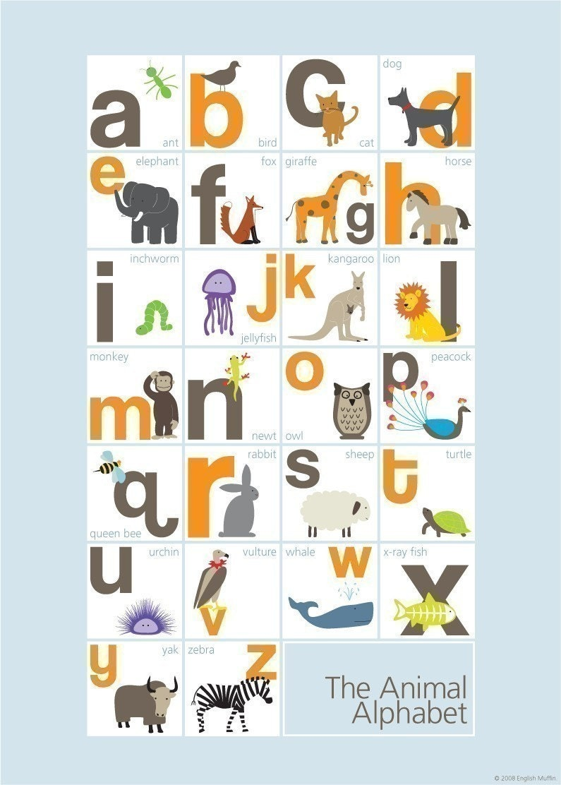 animal alphabet Free animal alphabet for toddlers, preschoolers and kindergartners play online alphabet games and videos, and download printable coloring pages.