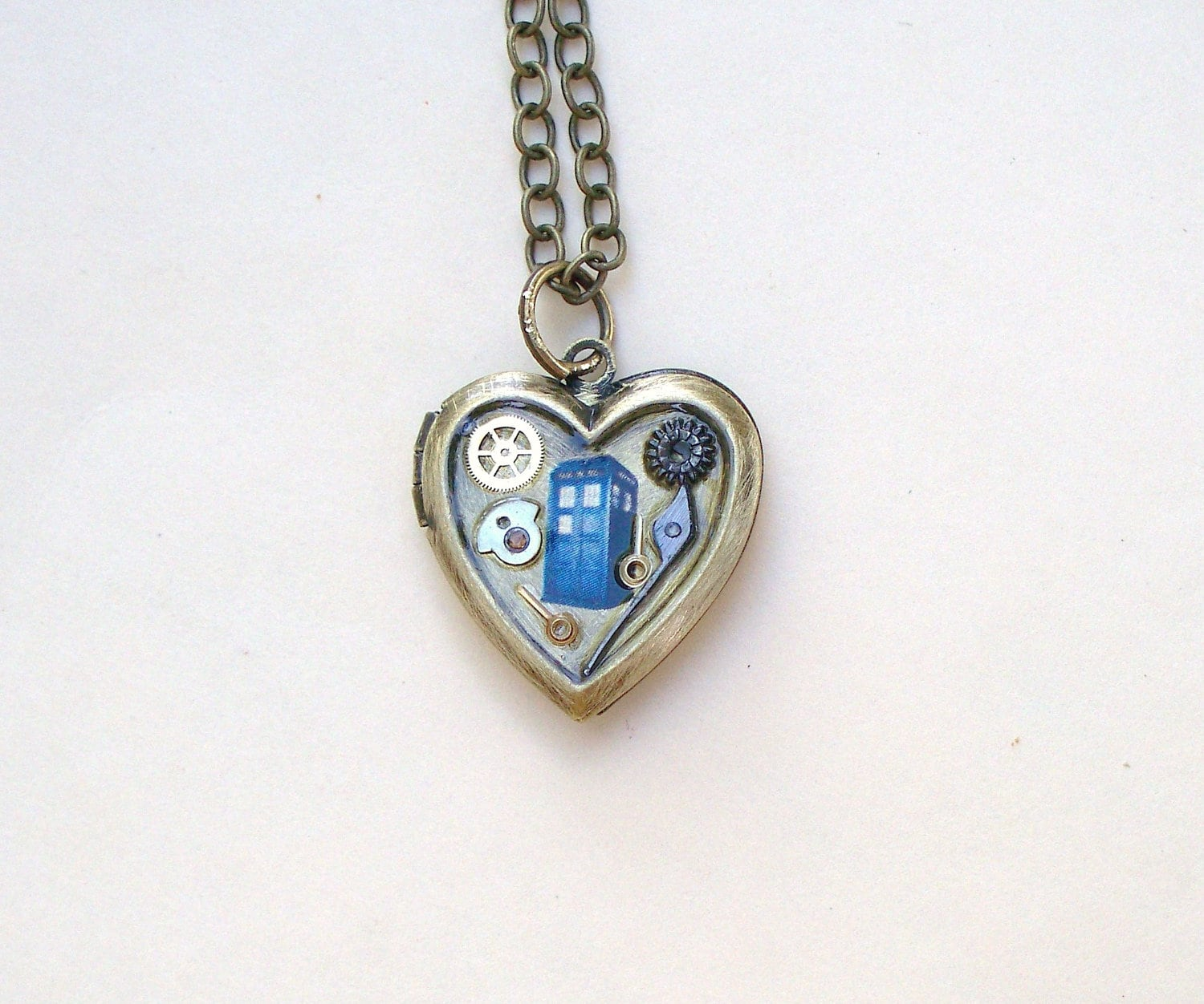 doctor who tardis locket necklace by timemachinejewelry on