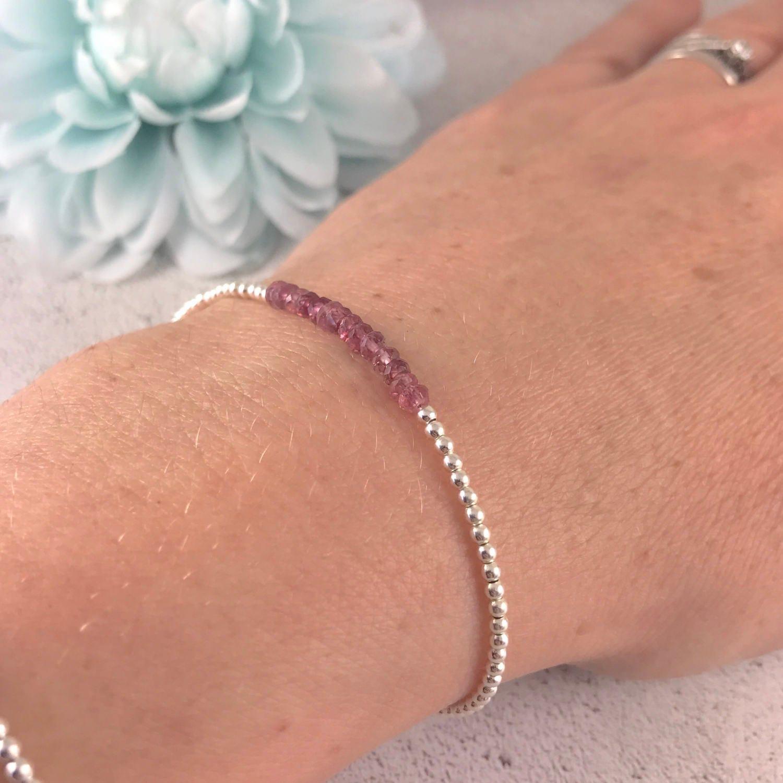 Pink Tourmaline bracelet thin tourmaline bracelet October birthstone bracelet stacking bracelet dainty