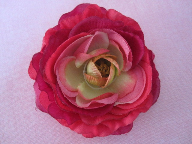Средний Цветок - ярко-розовый, Deep Purple и Lime Green - Дамских, Измененные Couture, волос Цветы, Шелковый