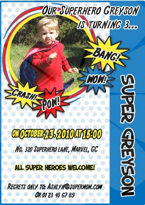 Superhero Party - Digital Invitation and Printable Custom Party Supplies -  We personalize them for you with NAME and AGE