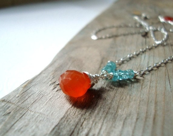 Carnelian and Apatite Necklace Fall Fashion Holiday Jewelry Bridal Jewelry - Orange Candies - FuchsiaBloomStudio