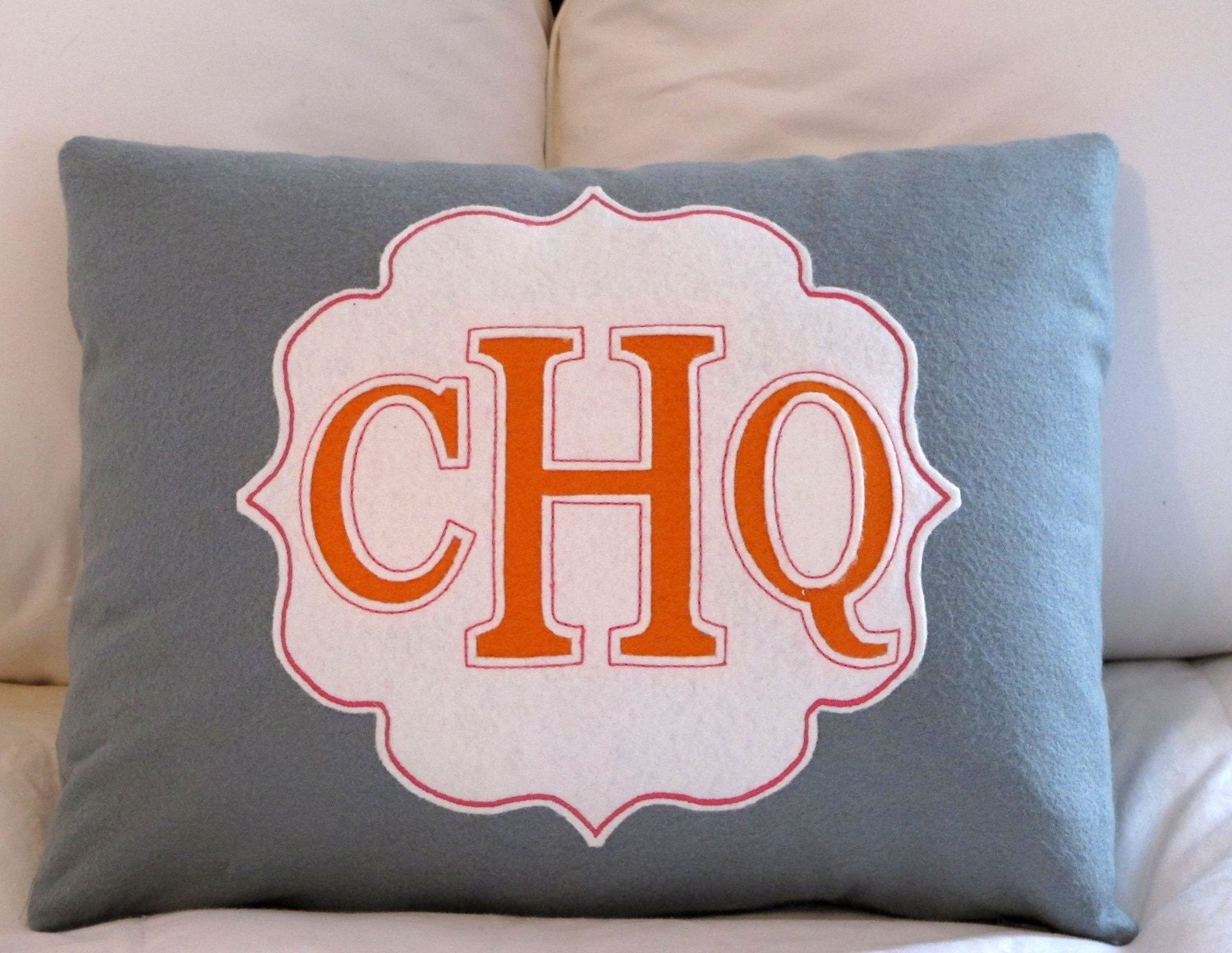 CUSTOM cut monogrammed pillow, bamboo felt