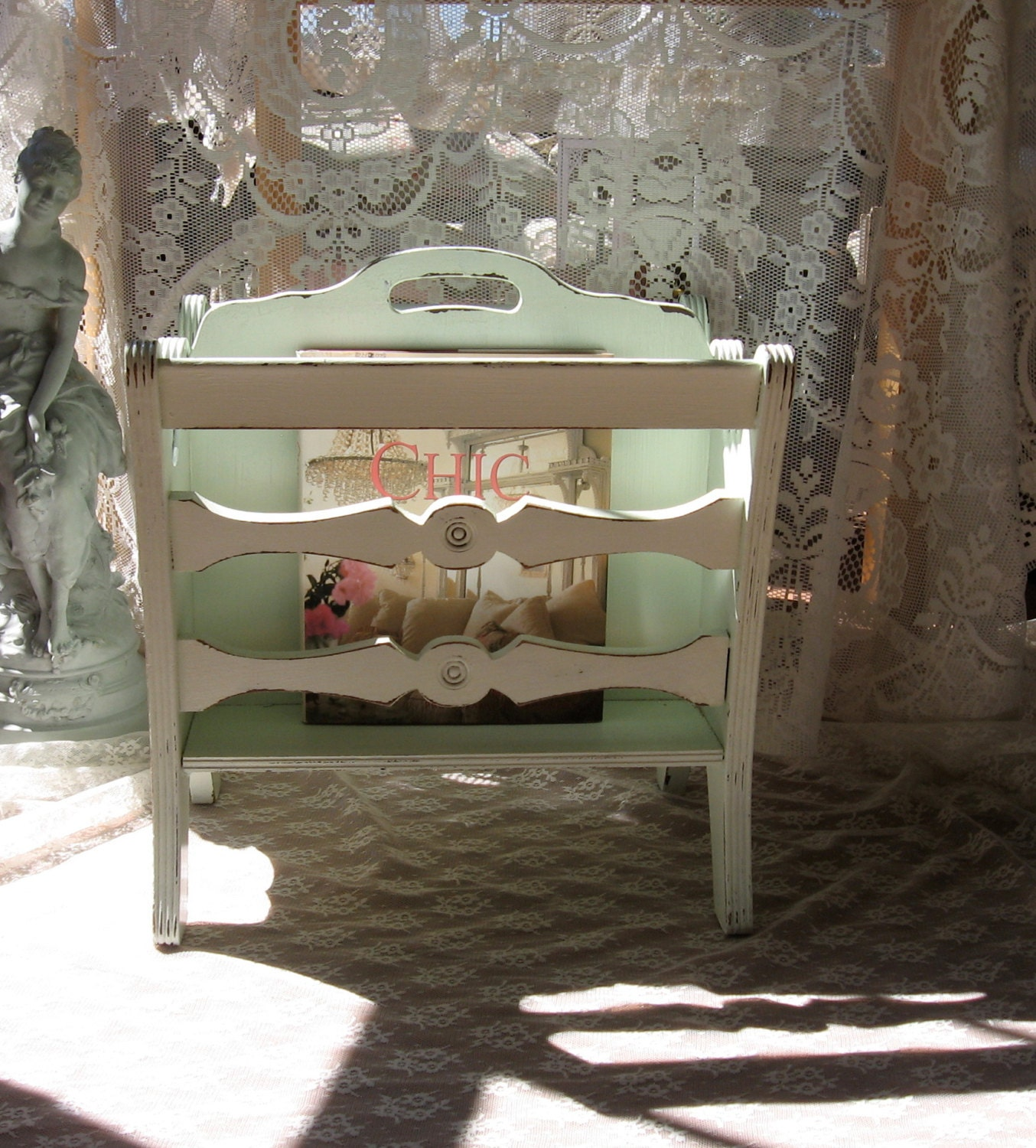shabby chic magazine rack mint distressed chippy by fannypippin. Black Bedroom Furniture Sets. Home Design Ideas