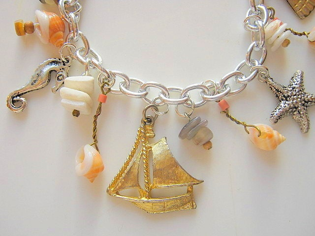 Sailboat and Shells Charm Bracelet Upcycled