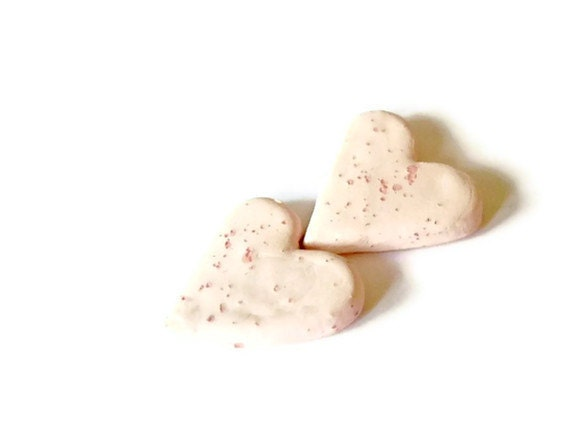 Pink Ceramic Hearts Small Pottery Jewelry Supplies with Unique Dots
