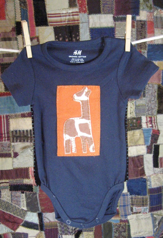 Giraffe on Orange on Navy Short-Sleeve Bodysuit (size 6-9 mo.) - FELTITNYC