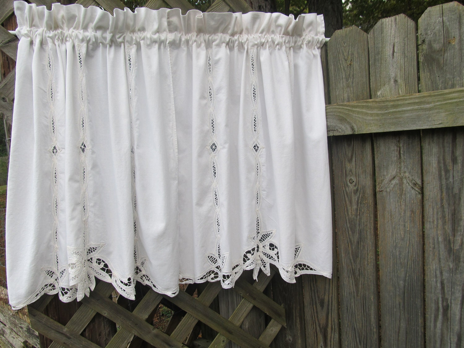 Battenburg lace country window curtain valances for kitchen or bath