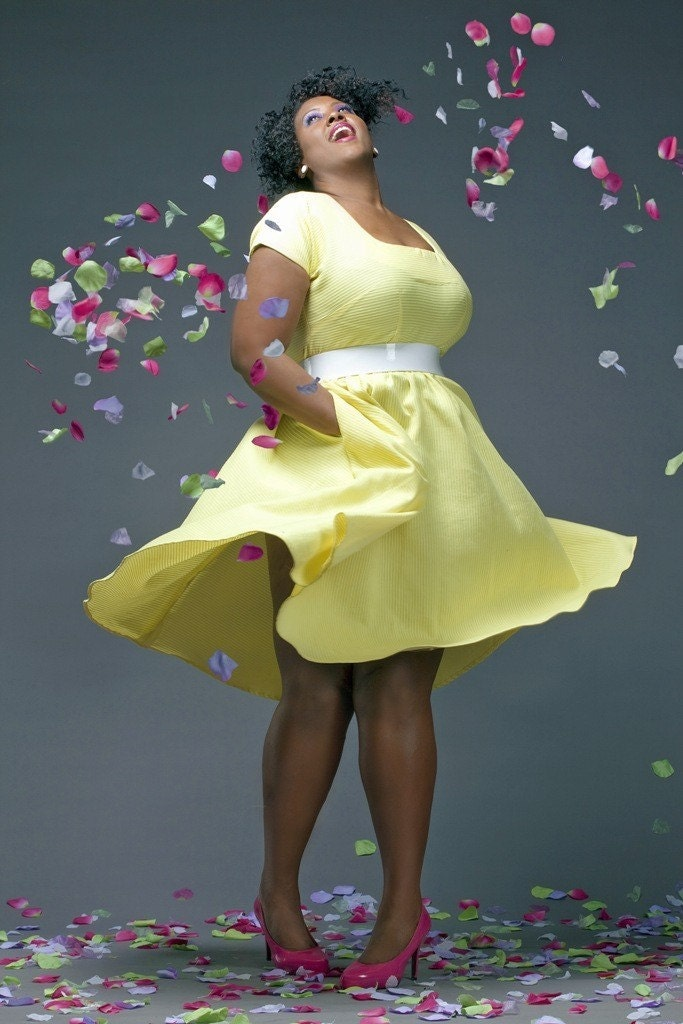 JIBRI Plus Size Pale Yellow Spring Dress(Limited) (Spring Dash-Original Price 180...40 percent off)
