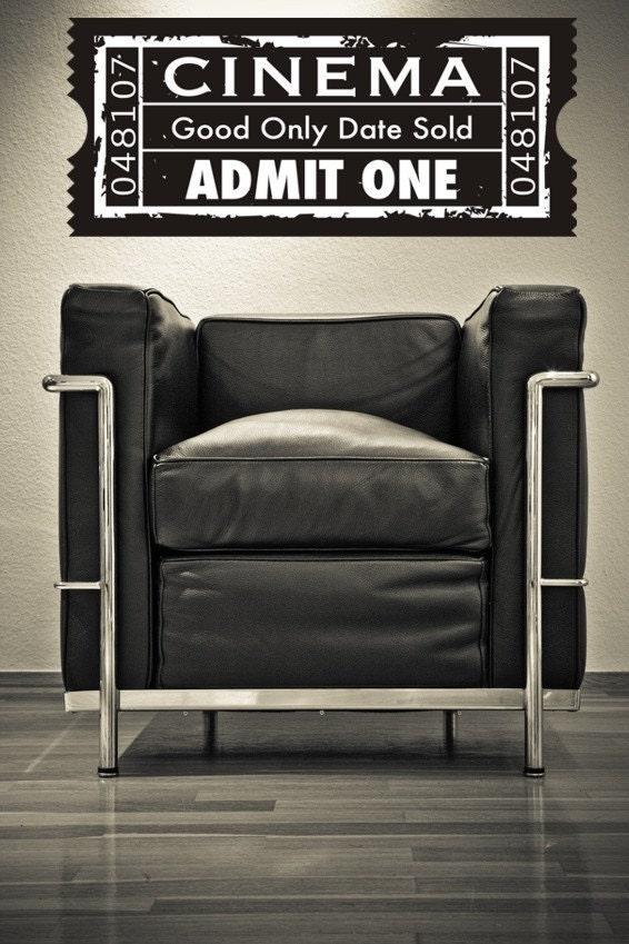 wall decal ticket stub cinema film movie by wallstargraphics